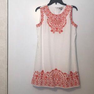 white and orange boutique dress